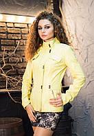 Ярко-желтая удлиненная кожаная куртка, фото 1