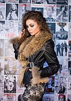 Кожаная куртка с меховым воротником и манжетами, фото 1