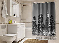 """Фото Шторка для ванной """"Черно-белый город"""""""