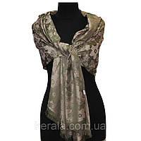 Оливковый женский шарф с цветами