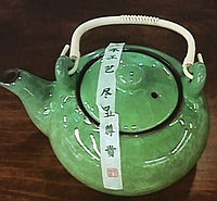 Чайник из иссинской глины с эффектом колотого льда (нефрит)