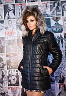 Куртка женская утепленная, из натуральной кожи, с капюшоном (отстегивается), фото 1