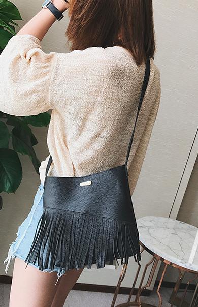 Женская сумка через плечо с кошельком Ковбойская с бахромой Черный