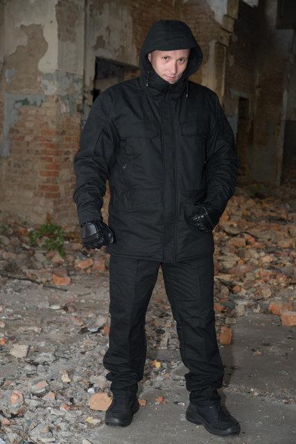 """Зимний костюм-горка """"Варяг"""", 100%х/б палатка, черный + флисовая подкладка"""