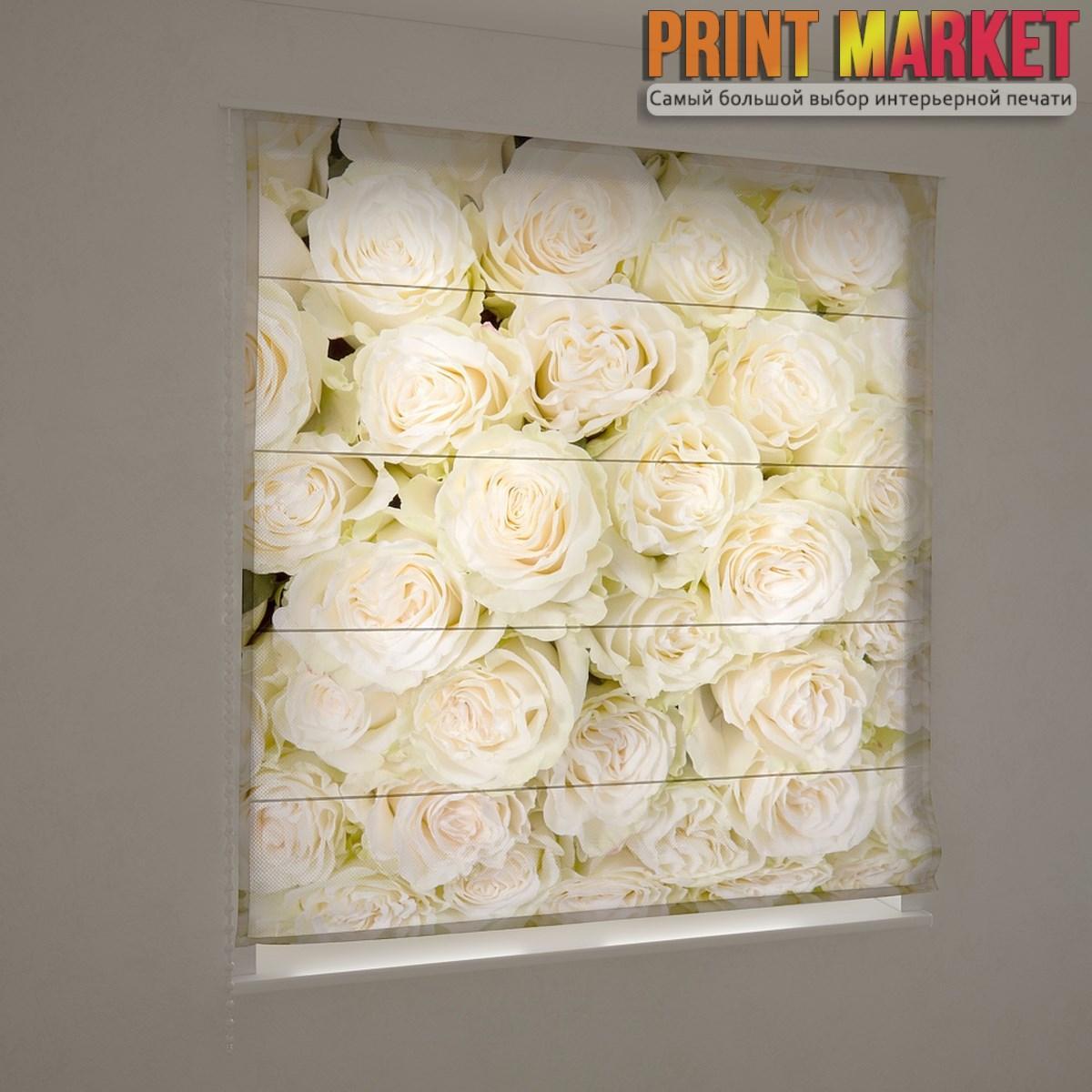 Фотошторы римские букет белых роз