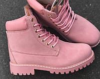 Женские зимние ботиночки пудра Timbe на шнуровке