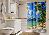 """Фото Шторка для ванной """"Пляж"""""""