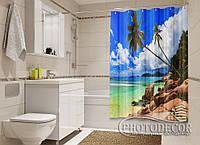 """Фото Шторка для ванной """"Пляж на Сейшелах"""""""
