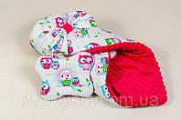 Детский конверт - одеяло на выписку Зимний Нежные совушки 80 х 85см, фото 1