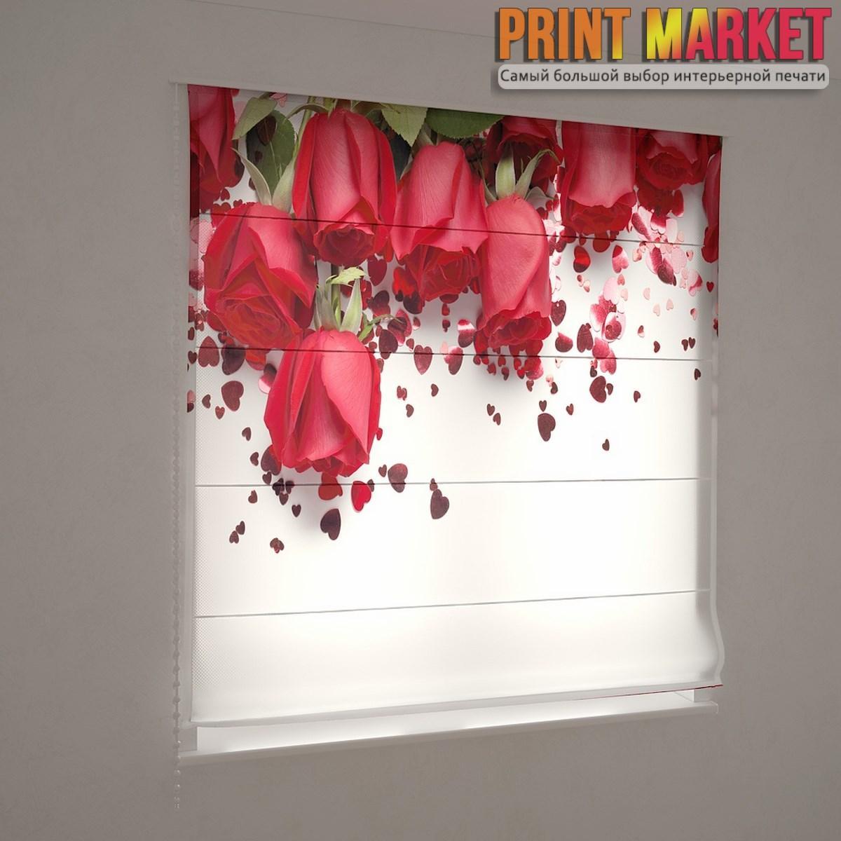 Фотошторы римские красные розы и сердца
