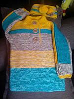 Детский вязаный свитер и повязка, ручная работа, в наличии