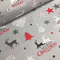 Рождественская ткань с оленями и ёлками на сером фоне №735