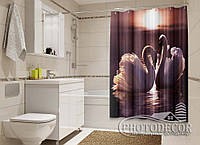 """Фото Шторка для ванной """"Лебеди"""""""
