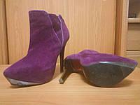 Замшевые ботинки ботильоны полусапожки сапожки б/у