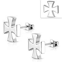 Серьги гвоздики железный крест 316, фото 1