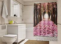 """Фото Шторка для ванной """"Аллея в лепестках"""""""