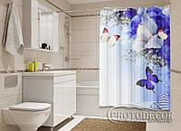 """Фото Шторка для ванной """"Бабочки и ирисы"""""""