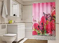 """Фото Шторка для ванной """"Бабочки и пионы"""""""