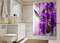 """Фото Шторка для ванной """"Бархатные ирисы"""""""