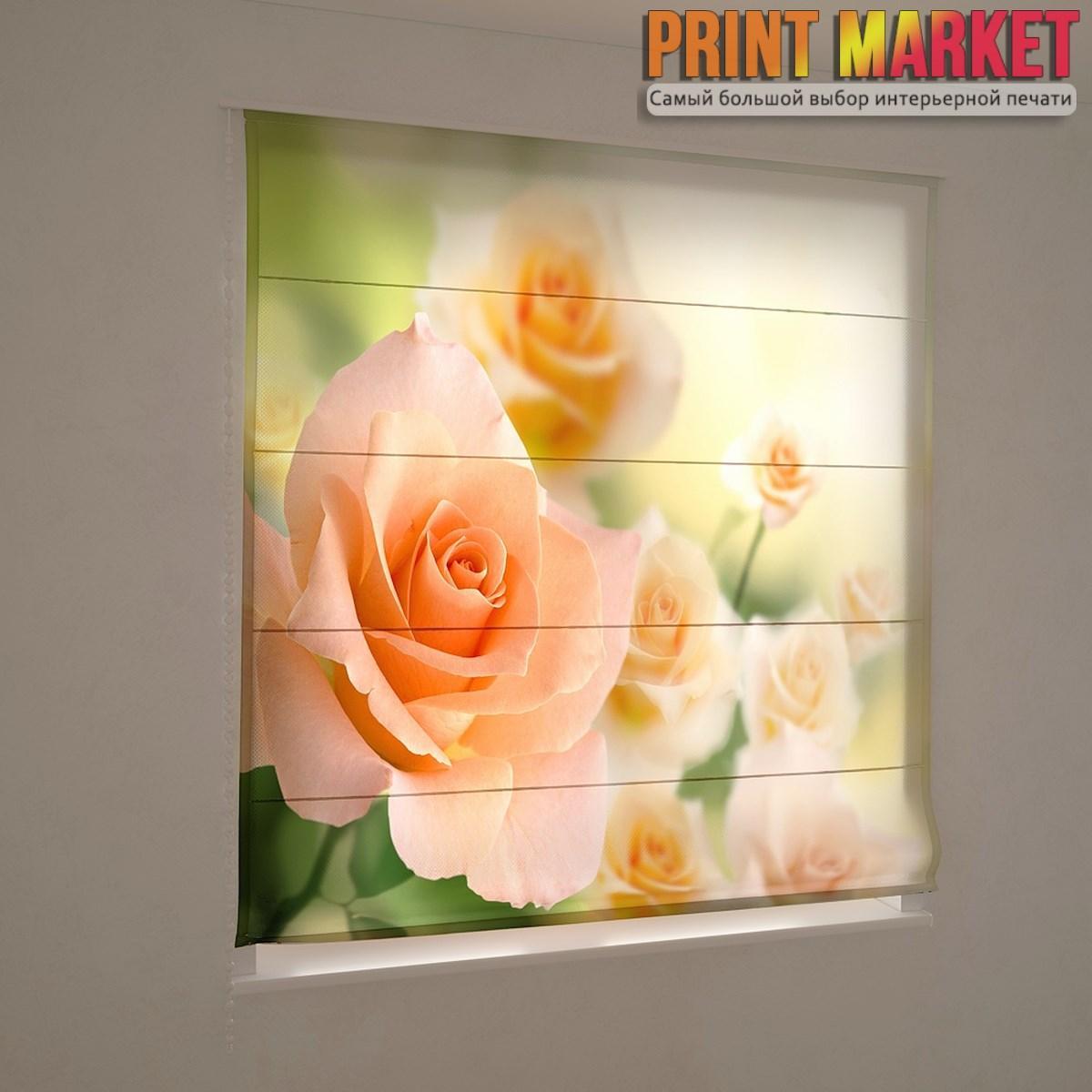 Фотошторы римские персиковая роза