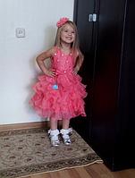 Нарядное пышное платье для девочки коралловое