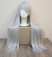 Парик женский серый длинный аниме карнавальный косплей cosplay прямой ровный