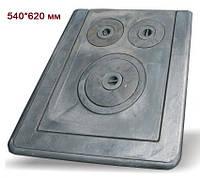 Плита чугунная 3-х конфорочная (540х620 мм)