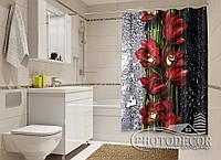 """Фото Шторка для ванной """"Капля красоты. Красный"""""""
