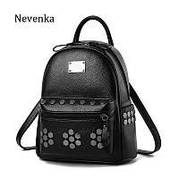 Рюкзак женский кожаный с заклепками и карманом Nevenka (черный)