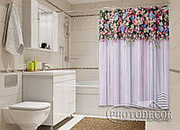 "Фото Шторка для ванной ""Ламбрекен из цветов. Фантазия"""