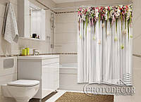 """Фото Шторка для ванной """"Ламбрекены из цветков"""""""