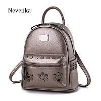 cf85038e6561 Рюкзак женский кожаный с заклепками и карманом Nevenka (бронзовый)