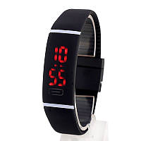 Спортивные силиконовые водонепроницаемые наручные LED часы - браслет 2 в 1, Черный, Унисекс