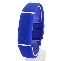 Спортивные силиконовые водонепроницаемые наручные LED часы - браслет 2 в 1 1, Синий, Унисекс , фото 1
