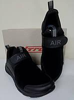 Чёрные мужские кроссовки на липучке