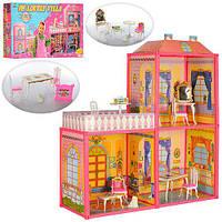 Кукольный дом для Барби My Lovely Villa 6984. Двухэтажный 3 комнаты с мебелью, веранда