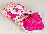 Демисезонный хлопковый конверт Жирафики 80 х 85см розовый, фото 1