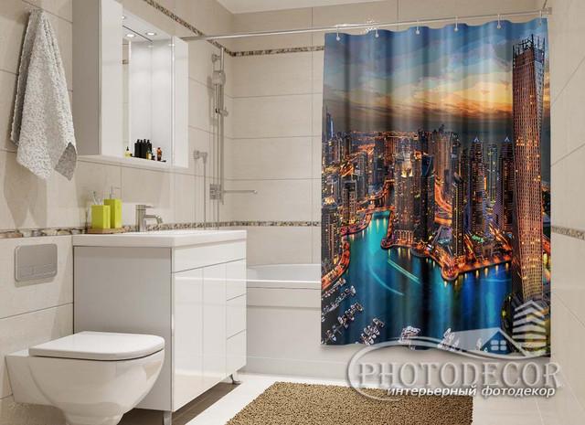 3D Фото Шторки в ванную с Архитектурой