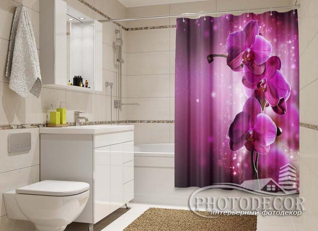 3D Фото Шторки в ванную с Цветами