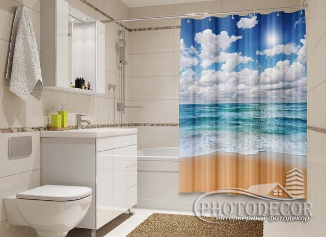 3D Фото Шторки в ванную с Океаном, морями, реками, озерами, водопадами