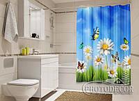 "Фото Шторка для ванной ""Бабочки и ромашки"""
