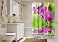 """Фото Шторка для ванной """"Бабочки на малиновой орхидеи"""""""