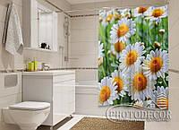 """Фото Шторка для ванной """"Белые ромашки"""""""