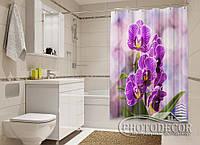 """Фото Шторка для ванной """"Ветка фиолетовой орхидеи"""""""