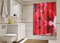 """Фото Шторка для ванной """"Красные орхидеи"""""""