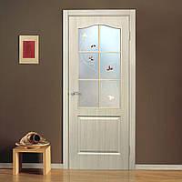 Двери межкомнатные со стеклом ПВХ Классика СС+КР дуб беленый, фото 1
