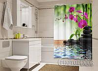 """Фото Шторка для ванной """"Малиновые орхидеи и камни"""""""
