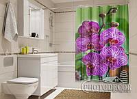 """Фото Шторка для ванной """"Малиновые орхидеи на зеленом"""""""