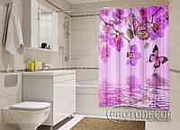 """Фото Шторка для ванной """"Малиновые орхидеи и бабочки"""""""