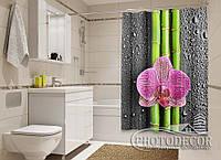 """Фото Шторка для ванной """"Орхидеи и бамбук 2"""""""